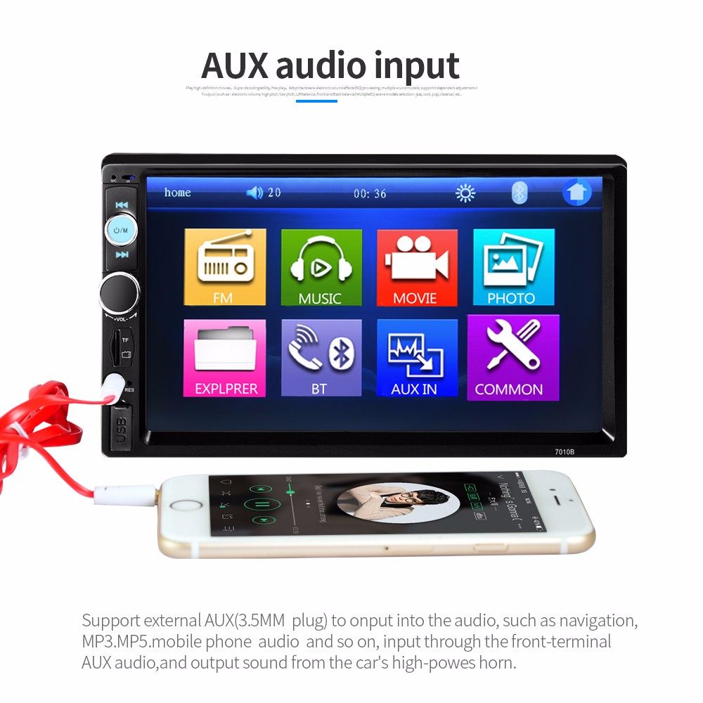7010B 7 inch Bluetooth V2.0 TFT Screen Car Audio Stereo MP5 Player 12V Auto Video Support AUX FM USB SD MMC Remote Control