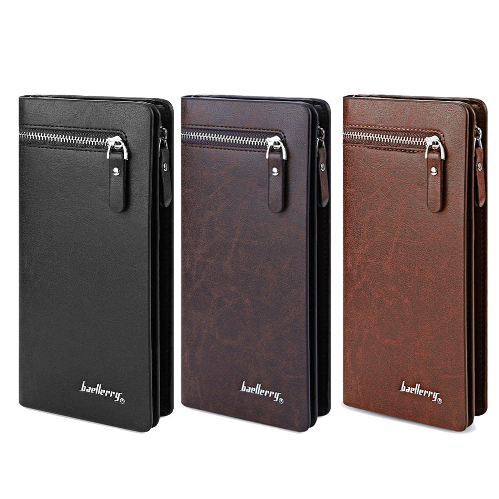 Baellerry Solid Color Men Cell Phone Money Photo Card Clutch Wallet