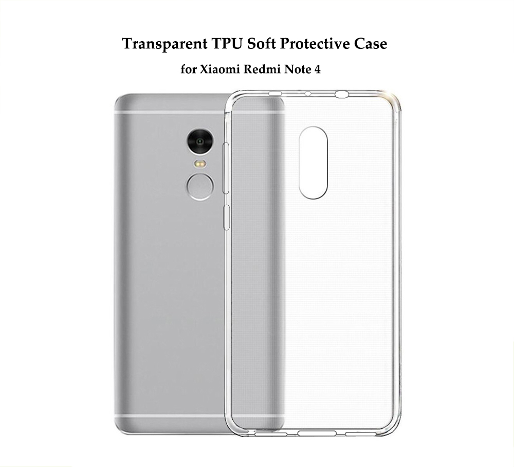 Transparent TPU Soft Protective Case for Xiaomi Redmi Note 4 Ultra Thin Phone Shell- Transparent