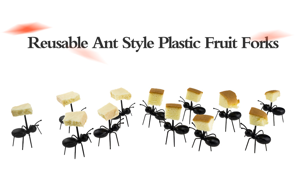 12pcs Reusable Ant Style Plastic Safety Fruit Forks for Cake Salad- Black