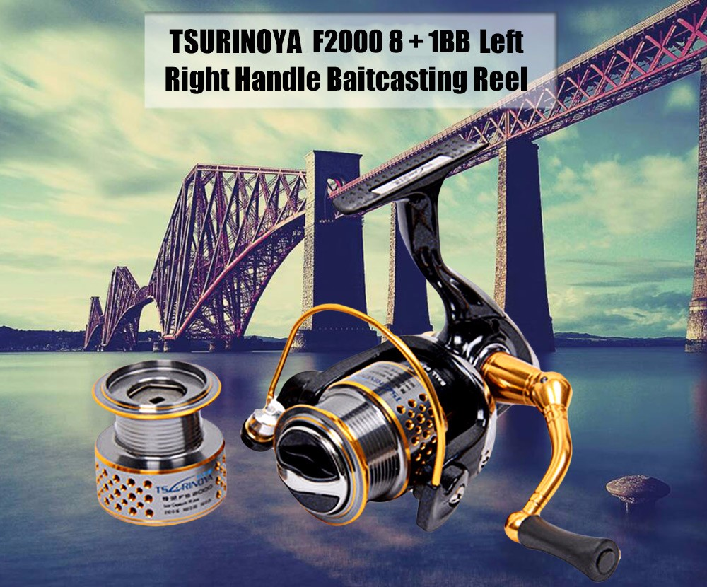 TSURINOYA F2000 Metal Spinning Reel Fishing Tackle Lure with One Way Clutch- Colormix