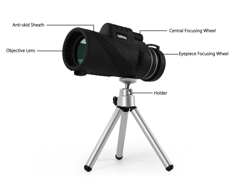 MaiFeng 40 x 60 Portable Night-vision Monocular Telescope with Holder- Black