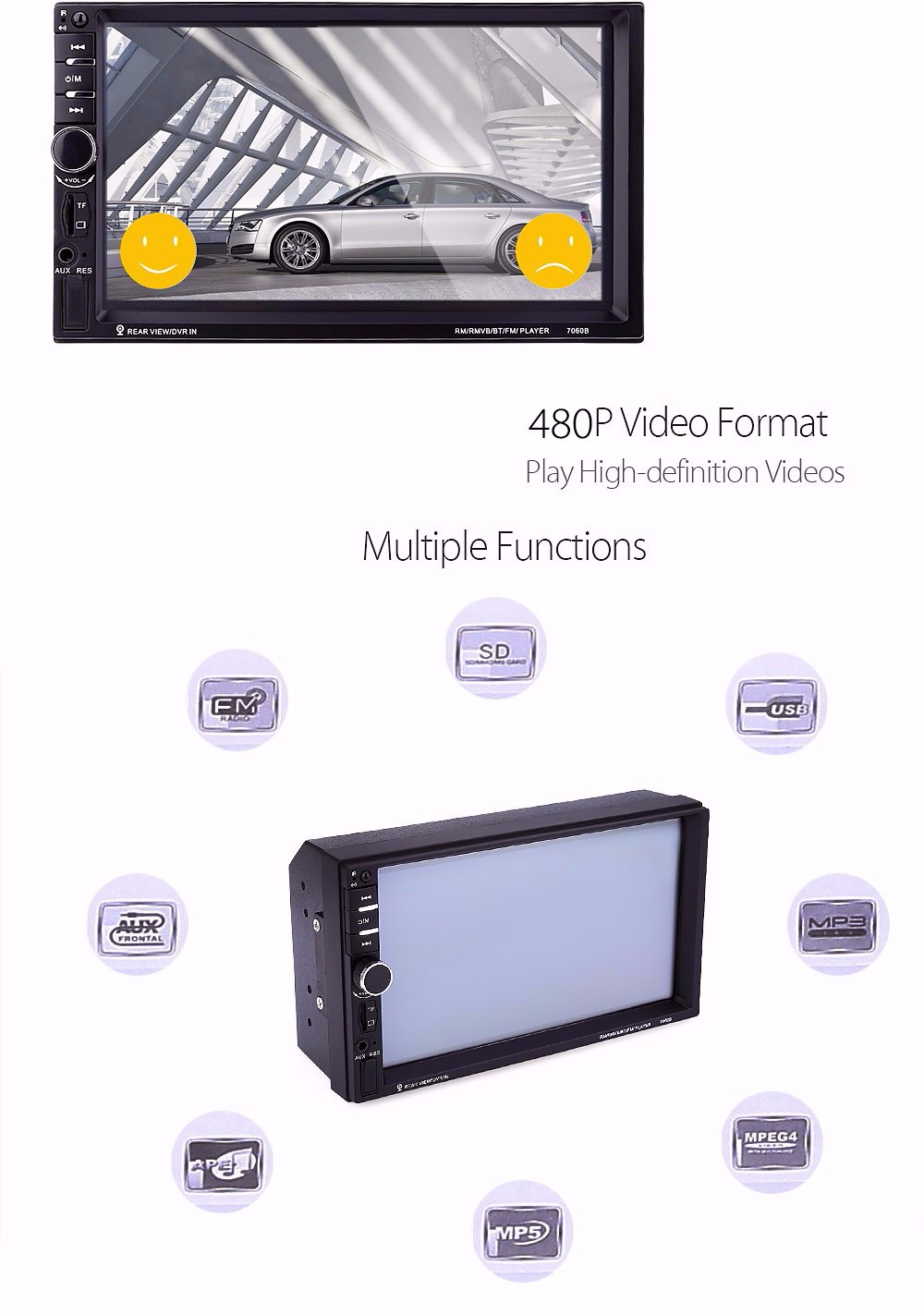 7060B 7 inch Car Audio Stereo MP5 Player 12V Auto Video Remote Control Rearview Camera- Black with camera