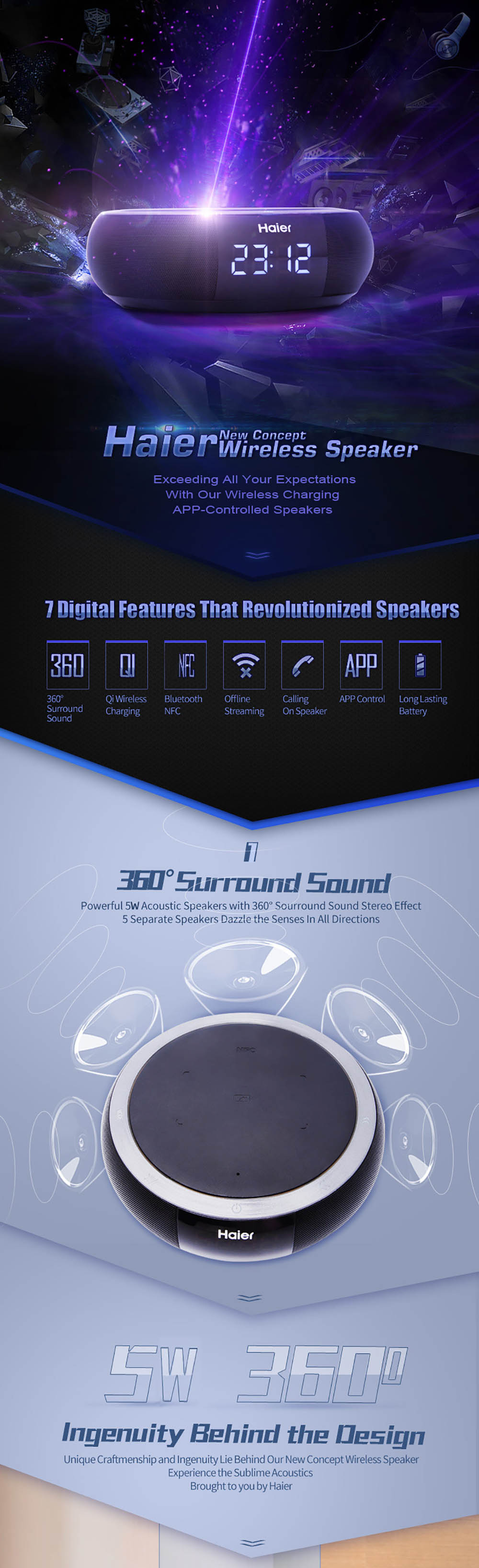 Haier Bluetooth 4.0 Speaker Qi Wireless Charging Pad HiFi Stereo Support NFC APP Control