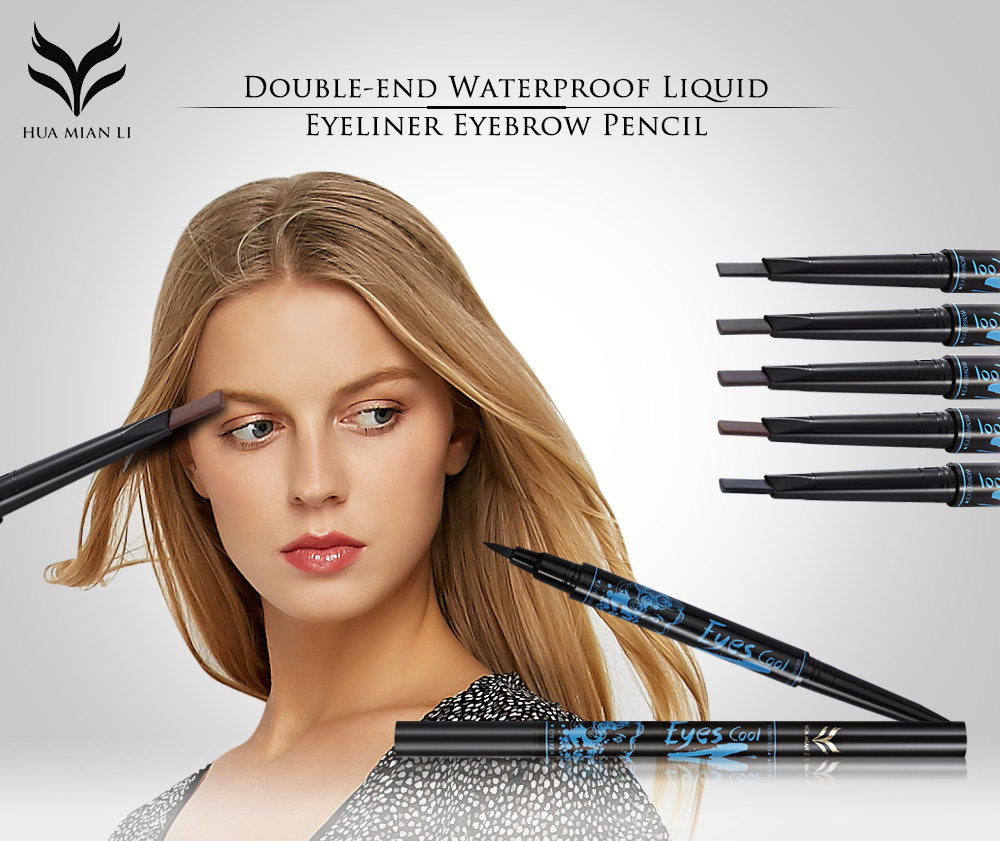 huamianli Double-end 2 in 1 Waterproof Liquid Eyeliner Eyebrow Pencil