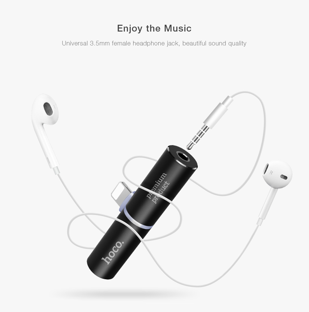 HOCO 8 Pin 3 5mm Audio Charger Adapter for iPhone 7 / 7 Plus