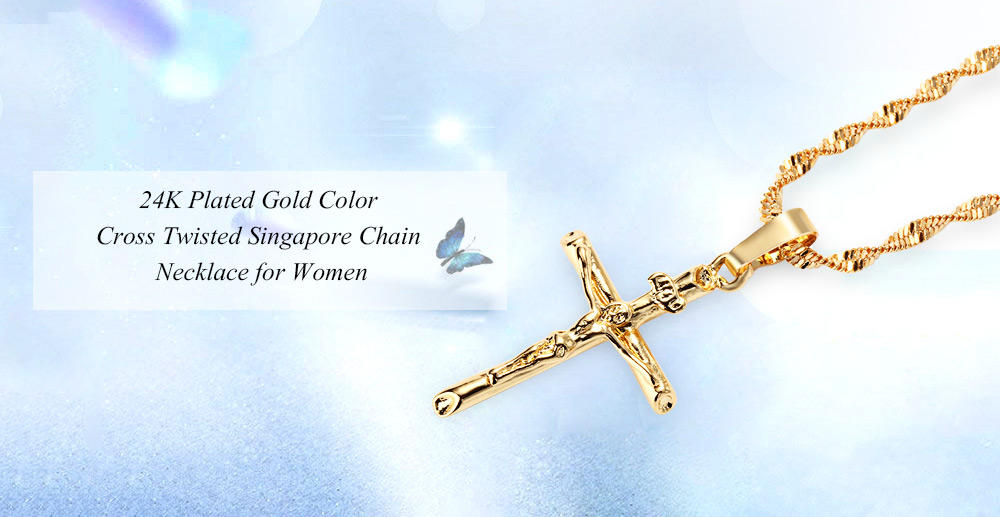 Stylish 24K Plated Gold Color Christian Cross Twisted Singapore Chain Necklace for Men- Golden