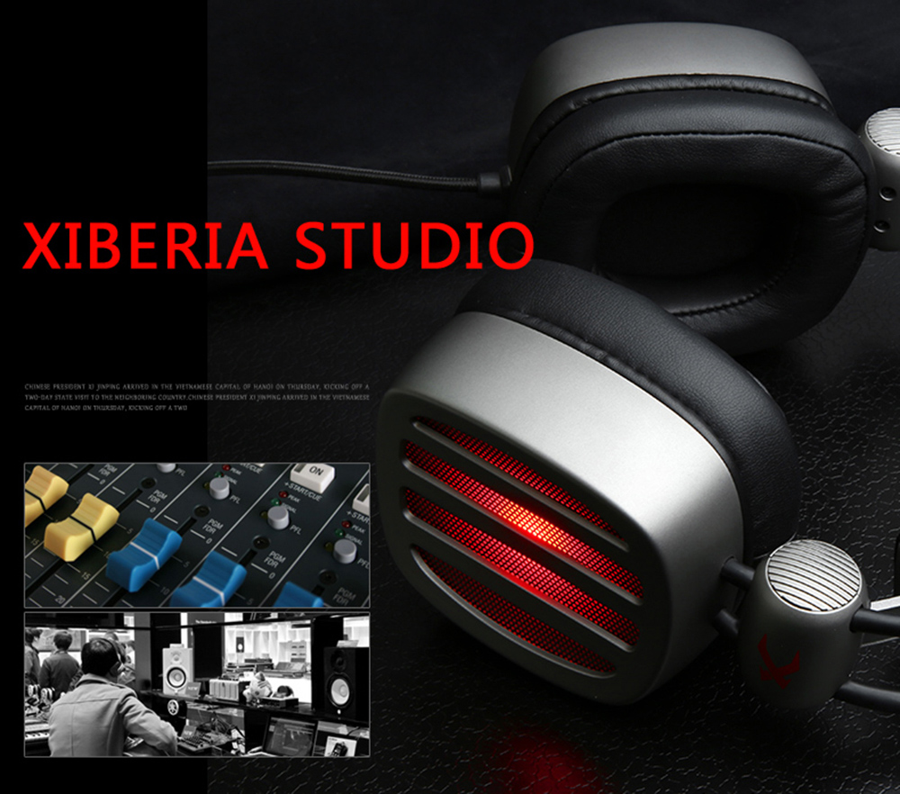 XIBERIA S21 Gaming Headset Surround Sound with Microphone Volume Control LED and Mute- Silver