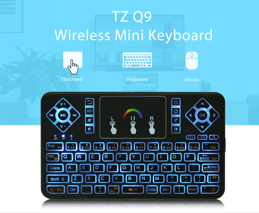 TZ Q9 Mini 2.4GHz Wireless Keyboard with Touchpad RGB Backlight Function