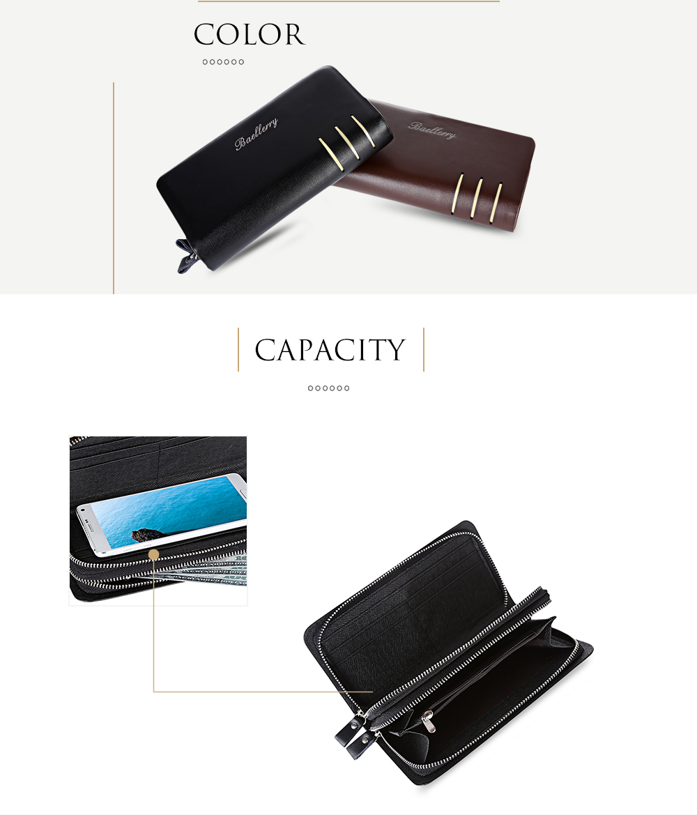 Baellerry Stylish Portable Large Capacity Multifunction Double Layers Wallet Clutch Bag for Men