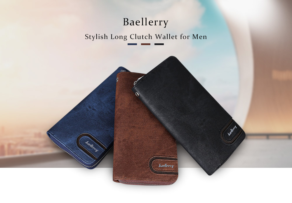 34b68d70e Baellerry Stylish PU Leather Card Holder Long Clutch Wallet for Men- Black