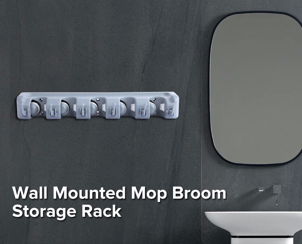 Wall Mounted Mop Storage Rack Broom Hanger Cleaning Tool Organizer- Gray TYPE C