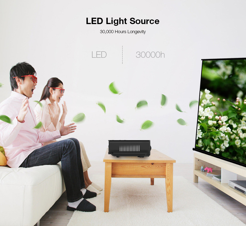 H100 LED Projector 600 Lumens 480 x 320P Support 800 x 480P - $36.99 ...