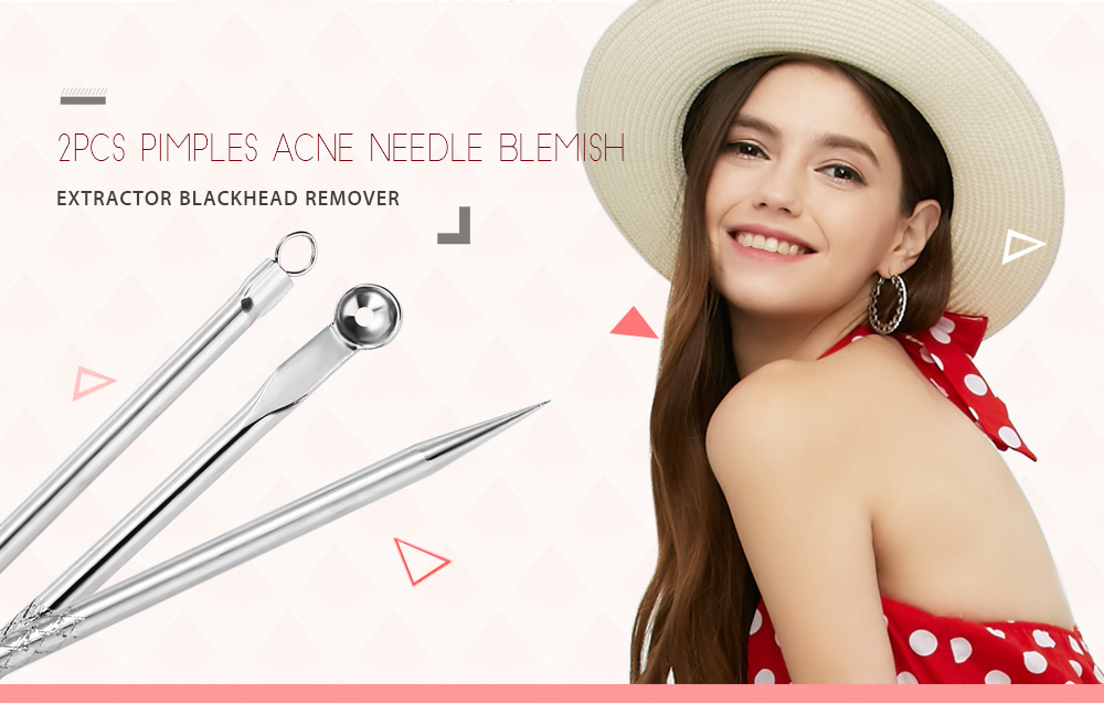 2pcs Antibacterial Makeup Tool Acne Removal Needle Pimples Blemish Blackhead Extractor