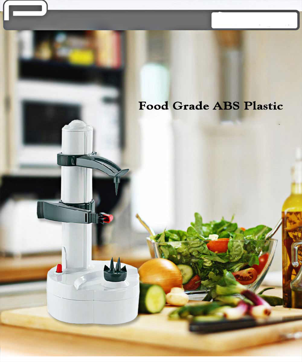 P03 Electric Peeler for Potato Vegetable Fruit Kitchen Tool with Two Spare Blades- Grey and White