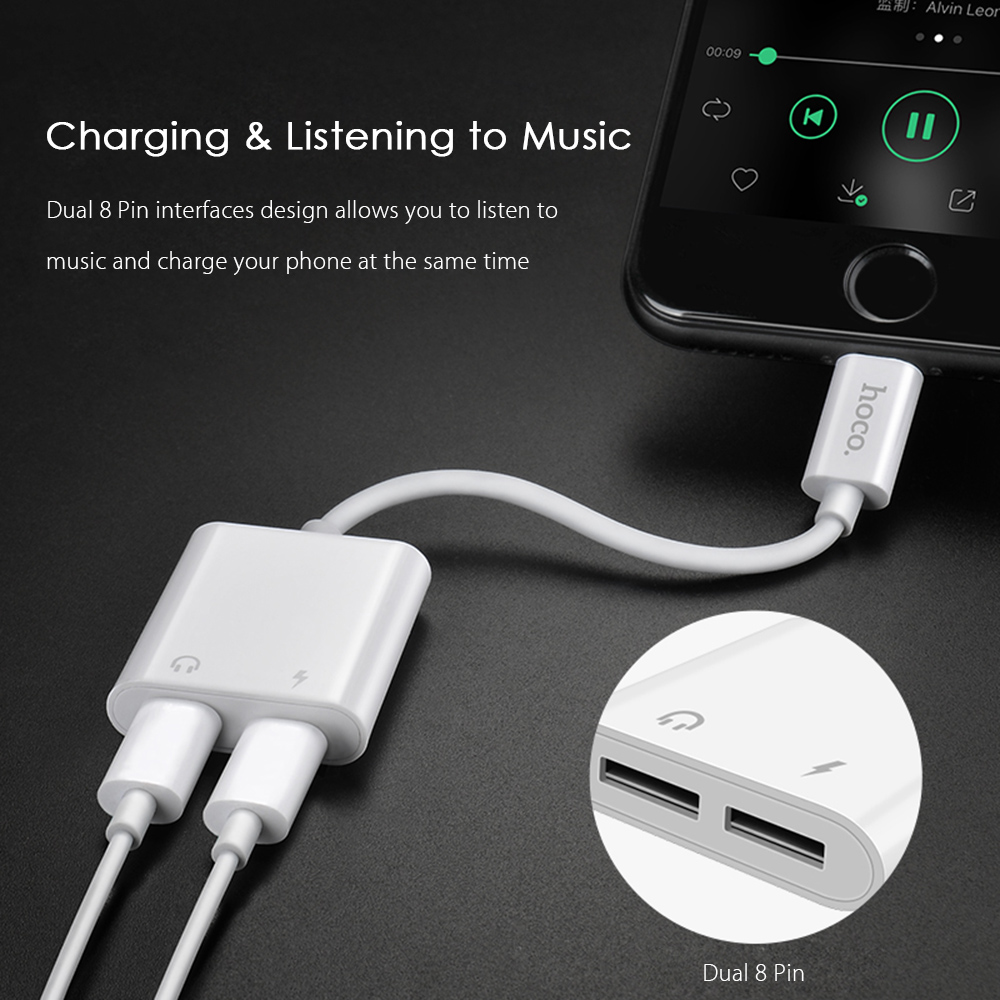 hoco 2 in 1 dual 8 pin audio adapter for iphone 8 18 5. Black Bedroom Furniture Sets. Home Design Ideas