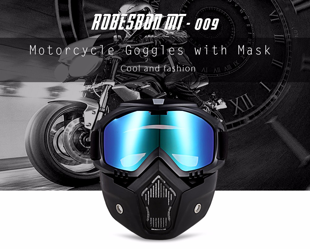 ROBESBON MT - 009 Motorcycle Goggles with Detachable Mask and Mouth Filter Harley Style Protect Padding Helmet Sunglasses- Colorful