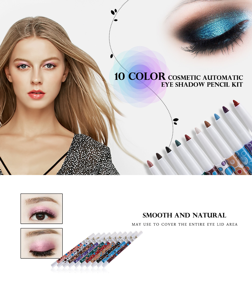 huamianli 10 Color Automatic Rotary Cosmetic Glitter Eye Shadow Pencil Makeup Tool