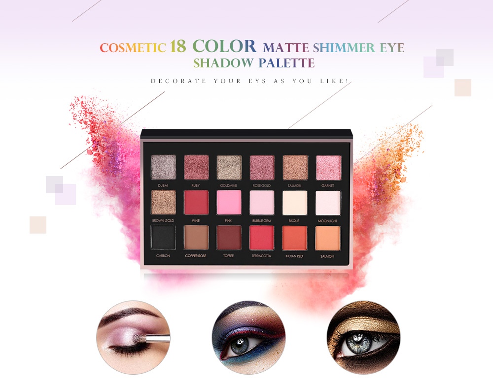 FOCALLURE Cosmetic 18 Color Matte Shimmer Eye Shadow Palette