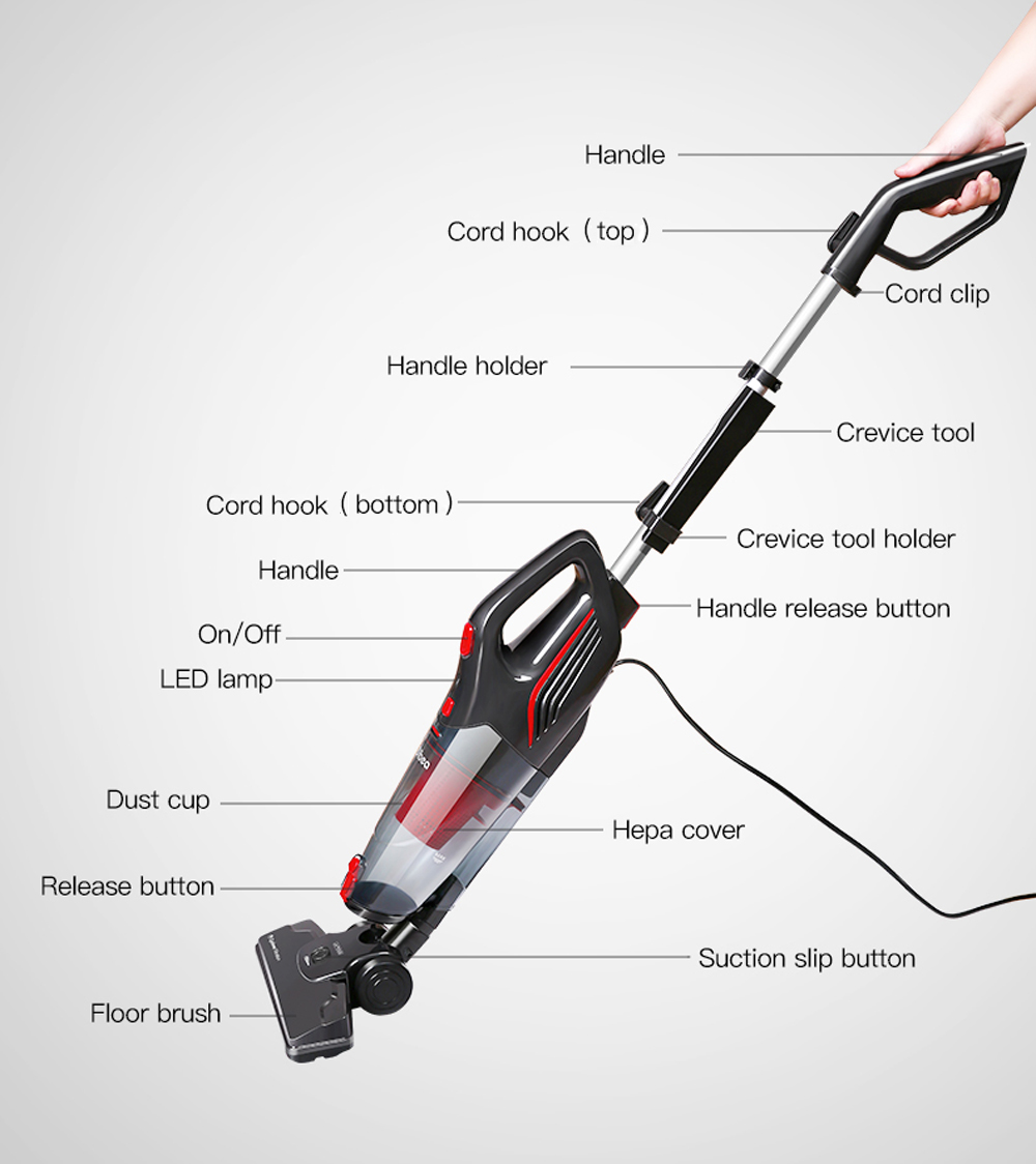dibea sc4588 2 in 1 cord stick vacuum cleaner handheld dust collector with crevice tool