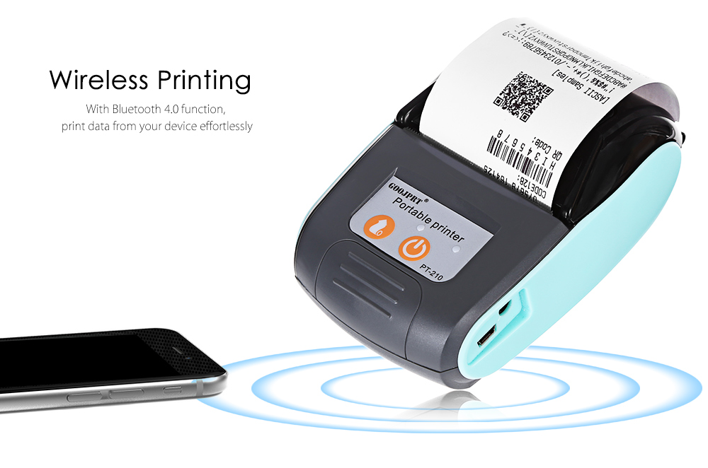 GOOJPRT PT - 210 58MM Bluetooth Thermal Printer Portable Wireless Receipt Machine for Windows Android iOS- Orange Red US Plug