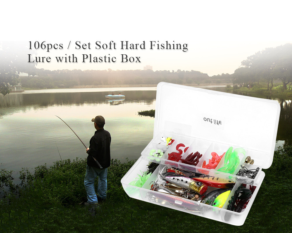 Outlife 106pcs box soft fishing bait hard metal lure for Hard and soft fishing