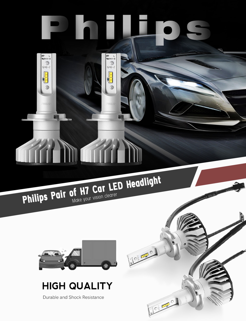 philips pair of h7 car led headlight online. Black Bedroom Furniture Sets. Home Design Ideas