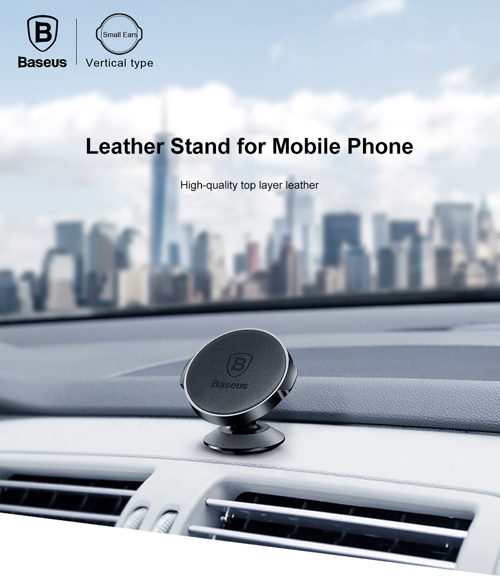 Baseus Small Ears Series Magnetic Suction Bracket Phone Holder Genuine Leather ( Vertical Type )- Black