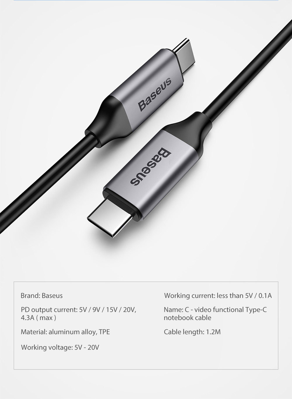 Baseus C - Video Functional Type-C to Type-C Notebook Quick Charging Transfer Cable 1.2M- Deep Gray