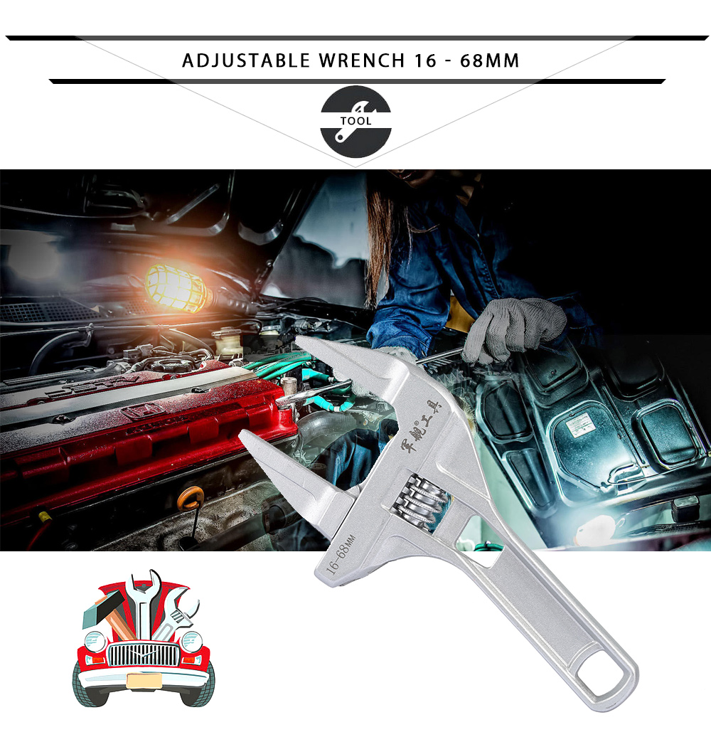 16 - 68mm Adjustable Wrench Short Shank Large Opening Hand Tool