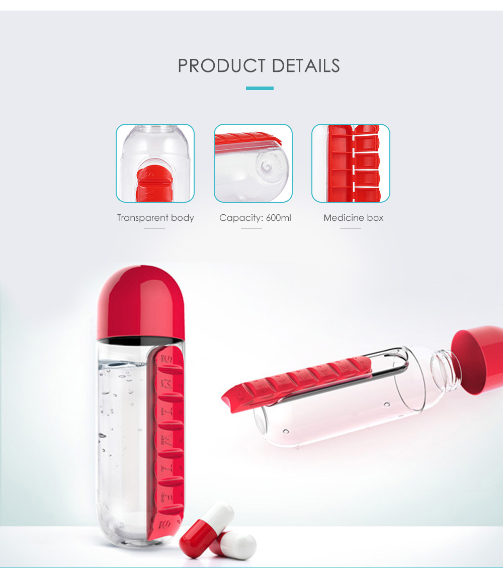 Portable Water Bottle with Medicine Box- Rose Red