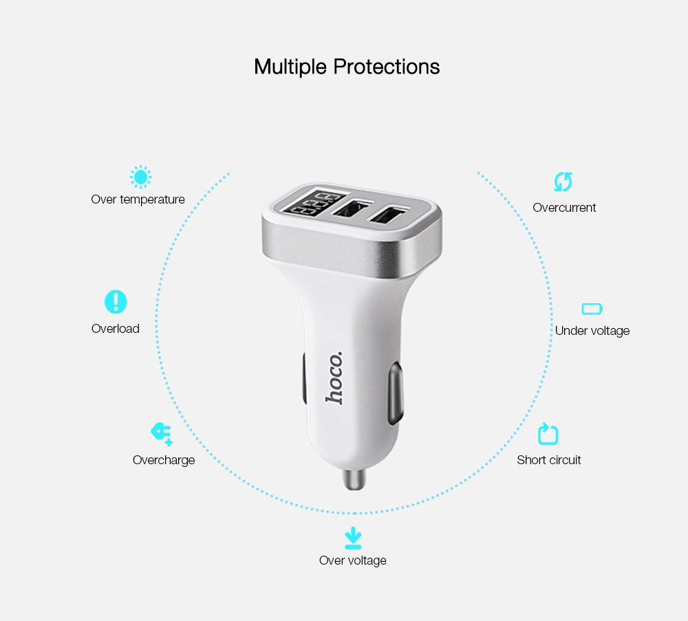 Hoco Z3 Smart Car Charger 31a Dual Usb Lcd Display 392 Free Fastchargerwithcutoffcircuitpng Intelligent Multifunctional Fast Charging Digital