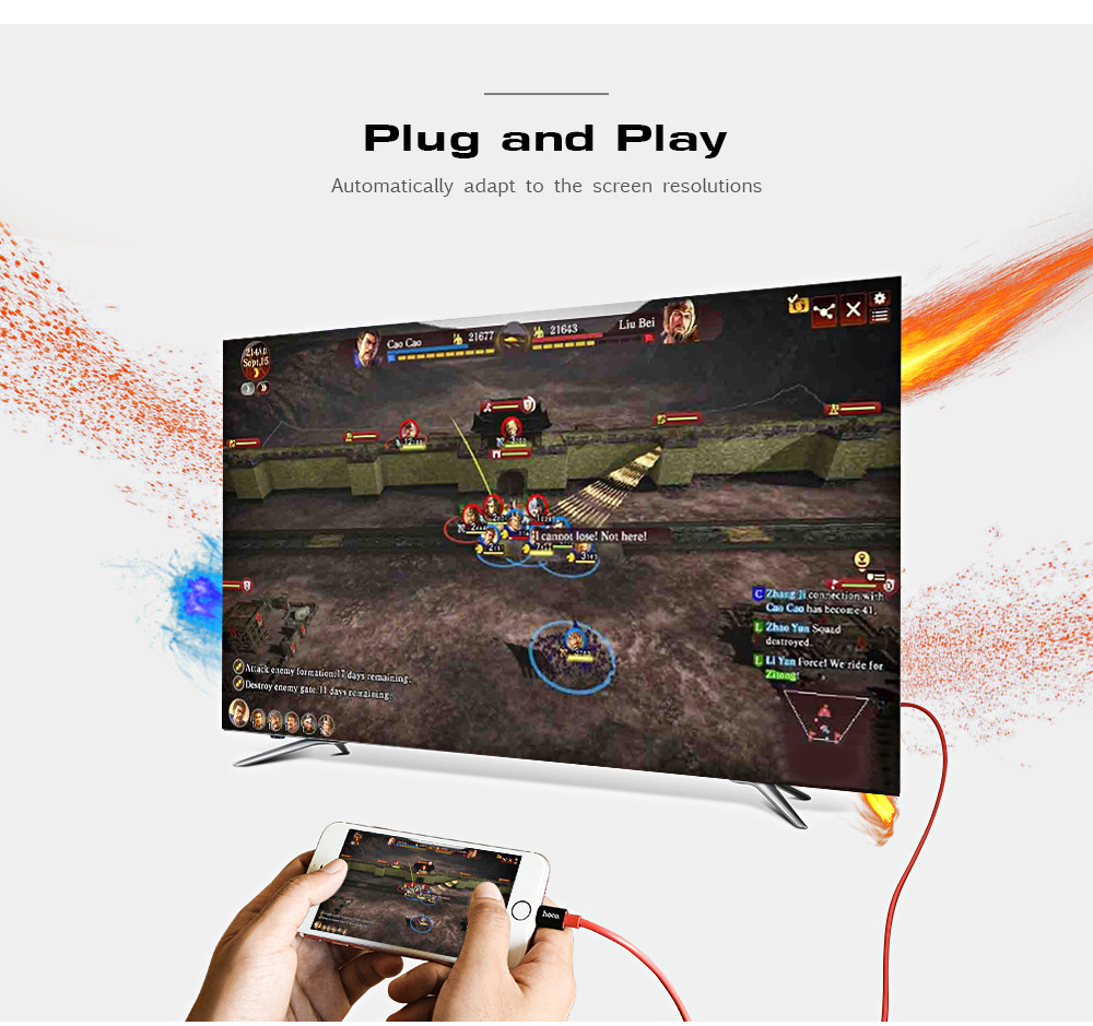 HOCO UA4 8 Pin to HDMI 1080P Video Mirroring Cable Converter Conversion Same Screen Adapter for iPhone / iPad 2M