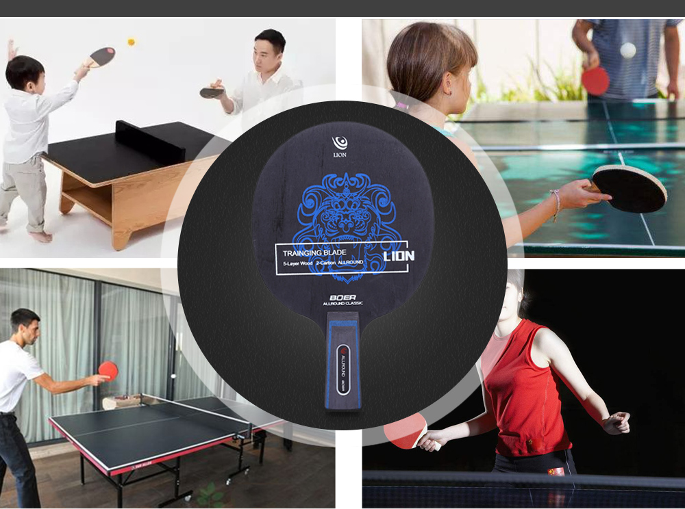 BOER Outdoor Lion Pattern Table Tennis Ping Pong Racket Training Blade- Gray Long Handle / Shake-hand Grip