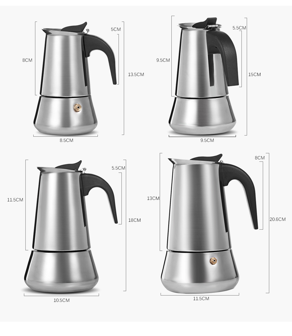 Stainless Steel Moka Coffee Pot Stovetop Espresso Maker- Silver 450ML