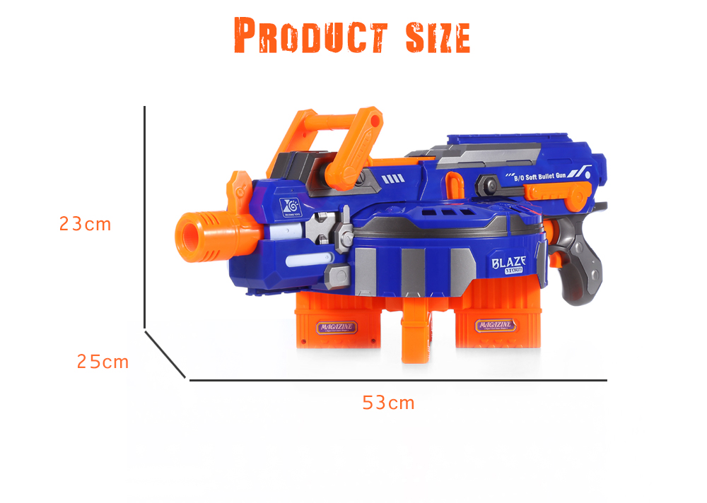 ZECONG TOYS 7032 Electric 48 Soft Bullet Gun Pistol Long Range Military Model Children Toy- Blue