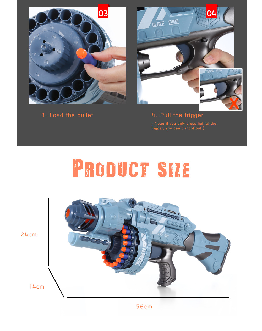 ZECONG TOYS 7076 Electric 20 Soft Bullet Gun Pistol Long Range Military Model Children Toy- Blue