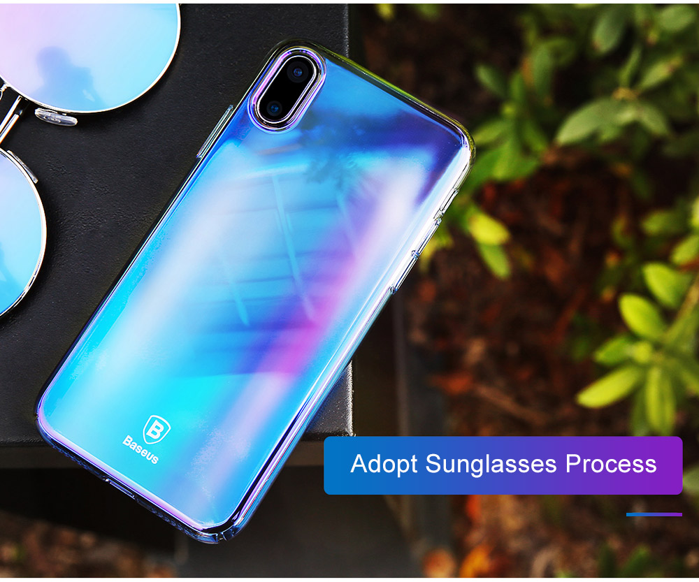 Baseus Glaze Case Ultra Slim PC Back Cover Gradient Color Protective Skin for iPhone X
