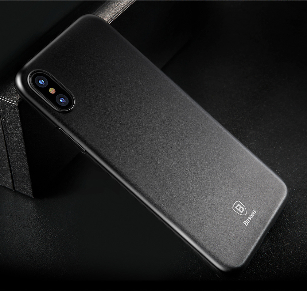 Baseus Wing Case Ultra Slim Light PP Protective Skin Back Cover for iPhone X- Transparent Gray