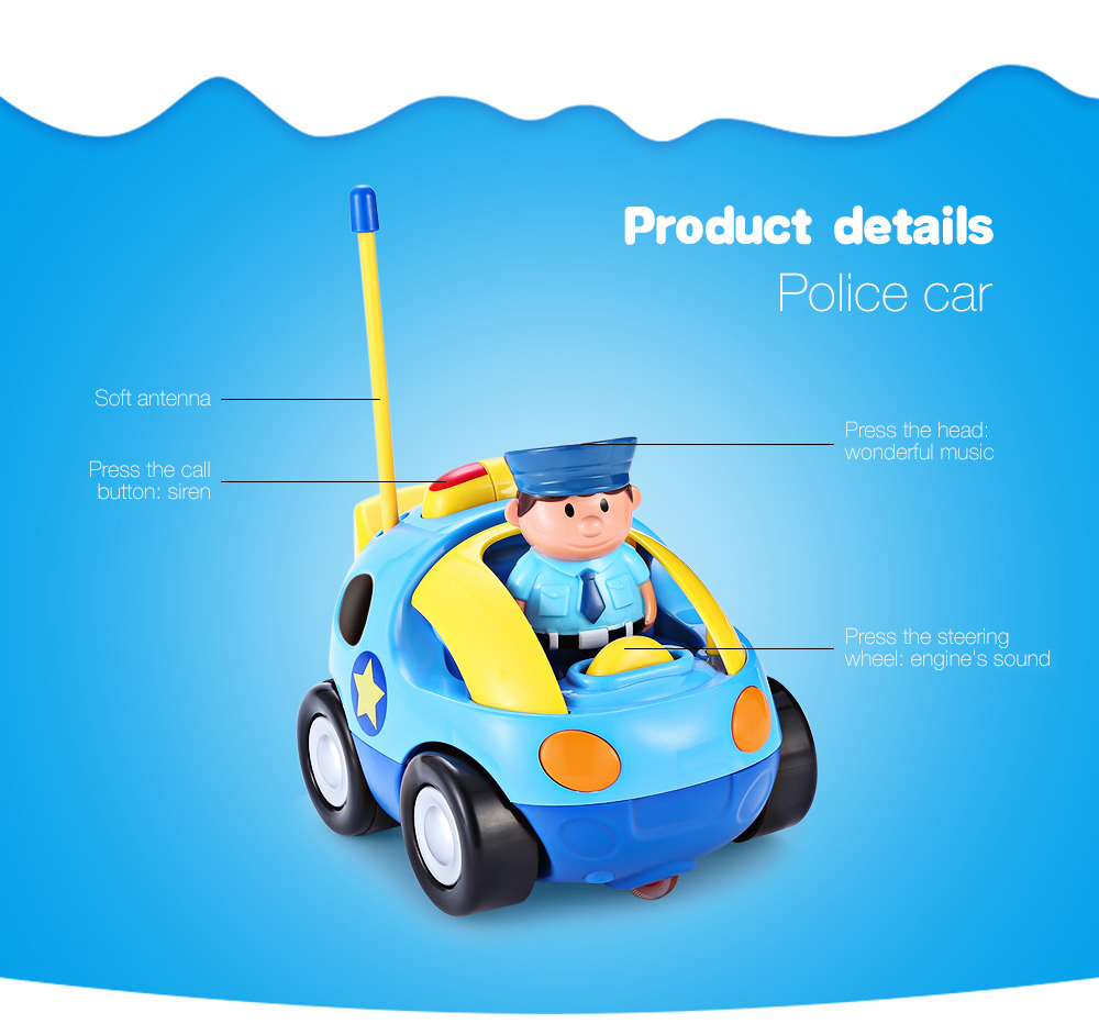 Cartoon Police Racing Car Remote Control Music Electric Toy Dump Truck Off Road 14 Cm Radio Kid Children Gift Lake