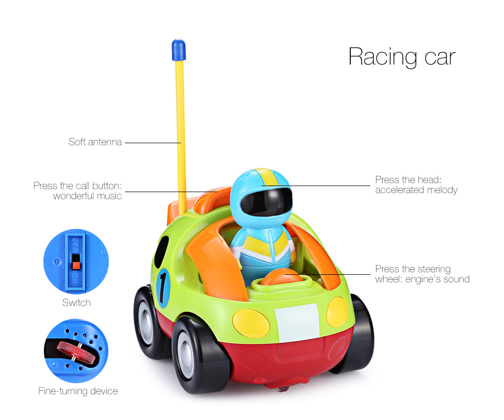 Cartoon Police / Racing Car Radio Remote Control Music Electric Toy Kid Children Gift- Red