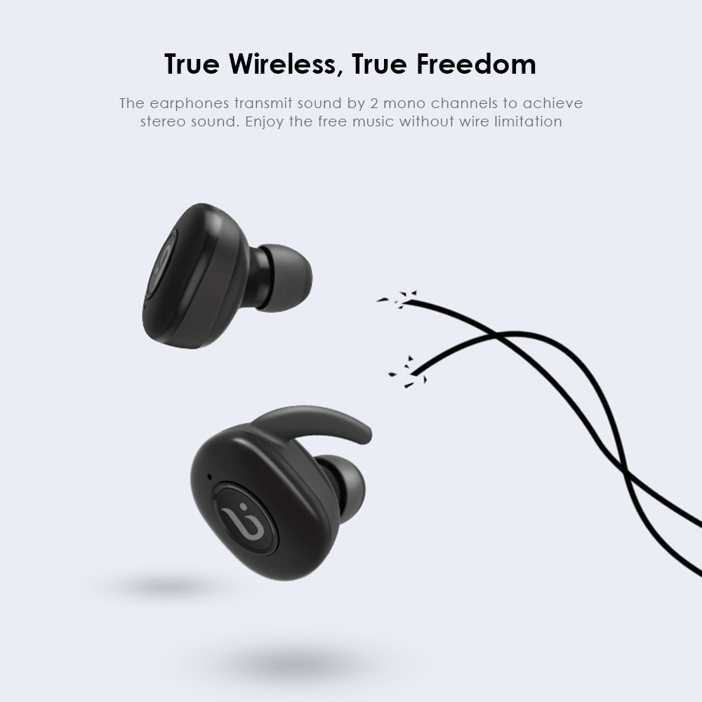 BOROFONE BE8 TWS True Wireless Earbuds Bluetooth 4.1 Sports Headphones with Recharging Storage Box- Black
