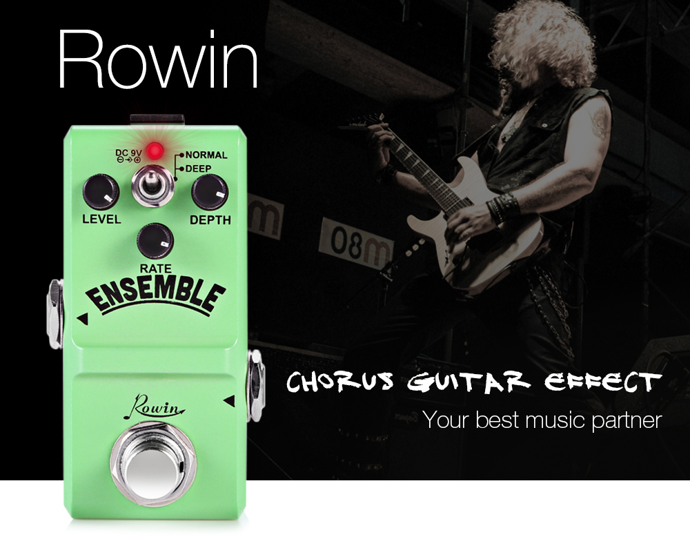 ROWIN Ensemble Classic Analog Chorus Guitar Effect Pedal True Bypass Design Aluminum Alloy Housing