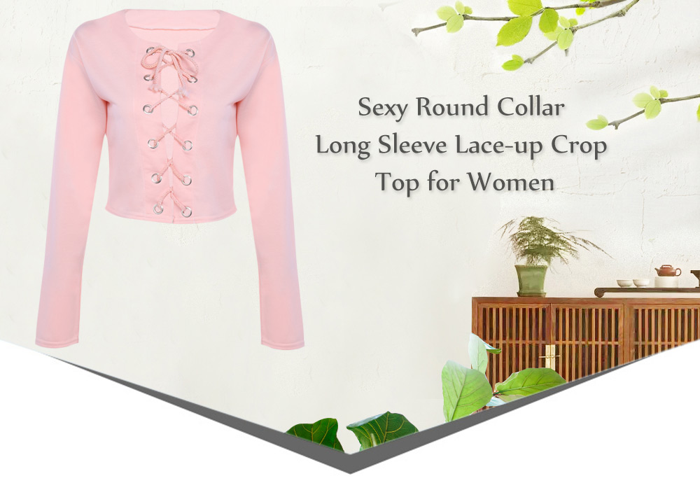 Sexy Round Collar Long Sleeve Lace-up Women Crop Top