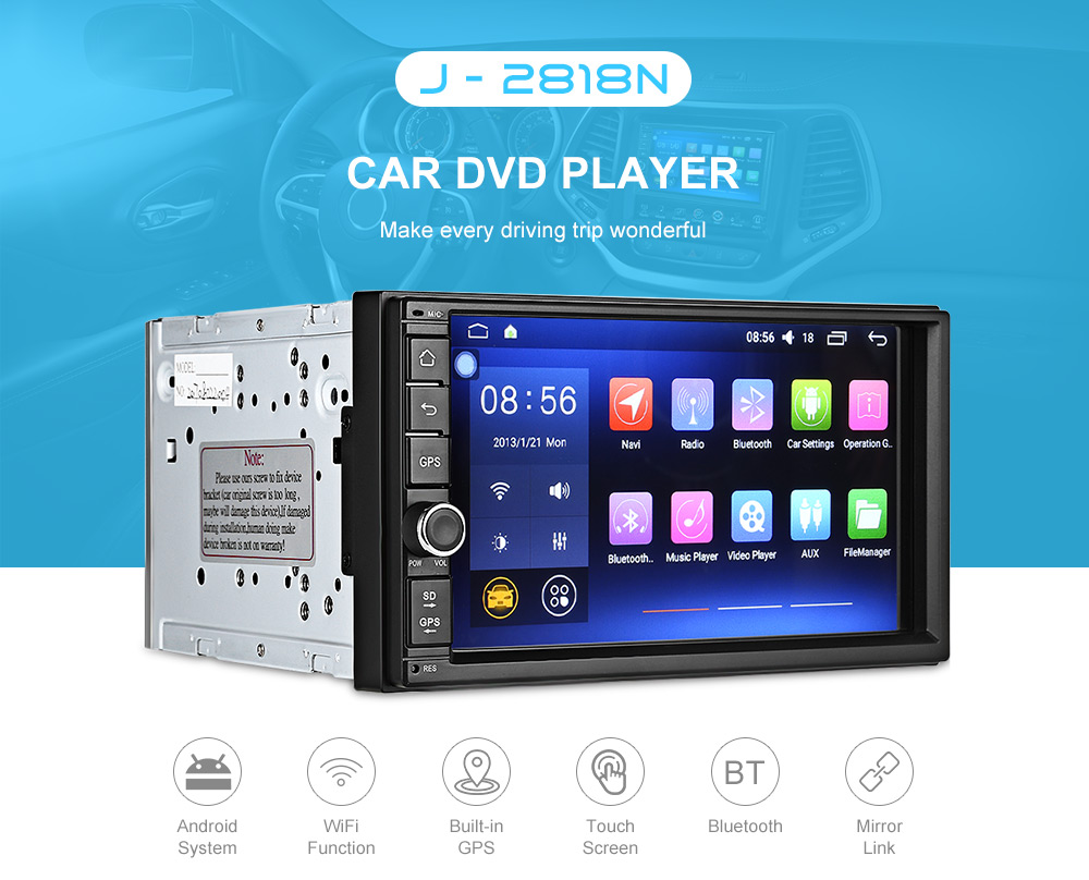 J - 2818N Universal Car DVD Player - $204.70 Free Shipping|GearBest.com