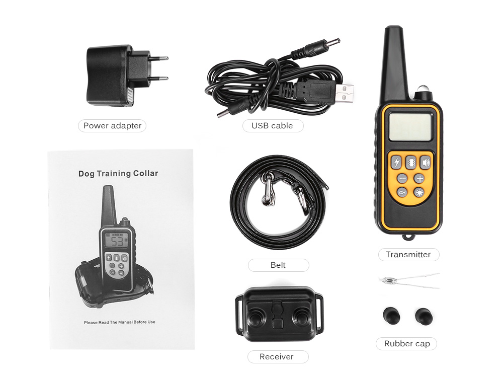 880 800m Waterproof Rechargeable Remote Control Dog Electric Training Collar- Black AU Plug