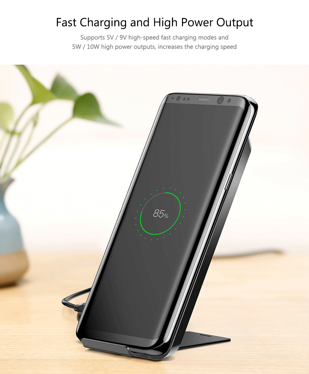 for iPhone X / Samsung Galaxy S8+ / S8 and Qi Enabled Devices- Black