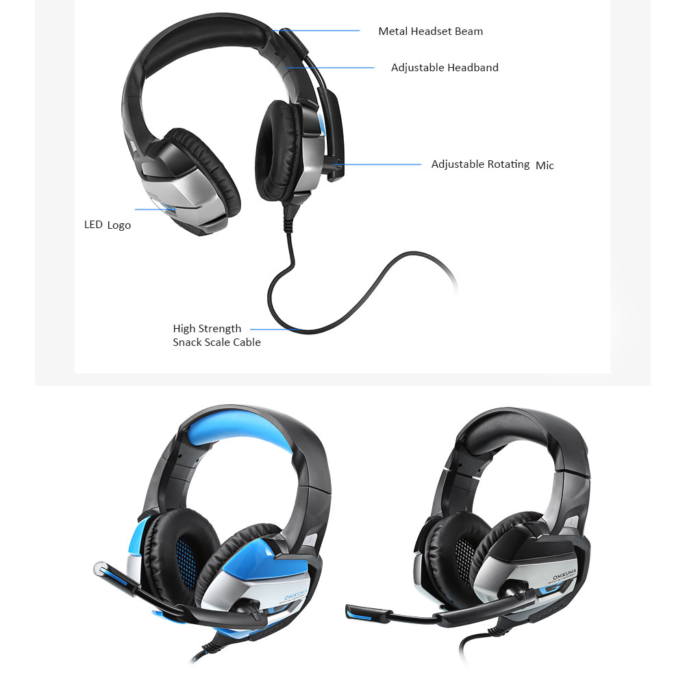 ONIKUMA K5 LED Light Stereo Gaming Headset with Mic