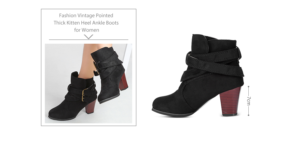 Fashion Vintage Pointed Thick Kitten Heel Ankle Boots for Women