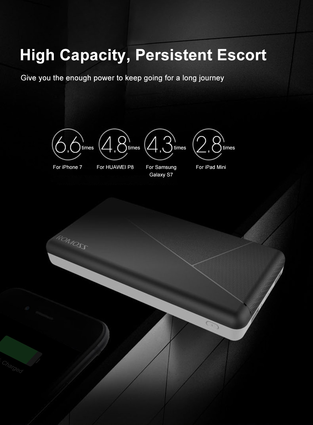 ROMOSS PIE 20 20000mAh Power Bank Dual USB 2.1A Output External Battery Charger with LED Indicator Light